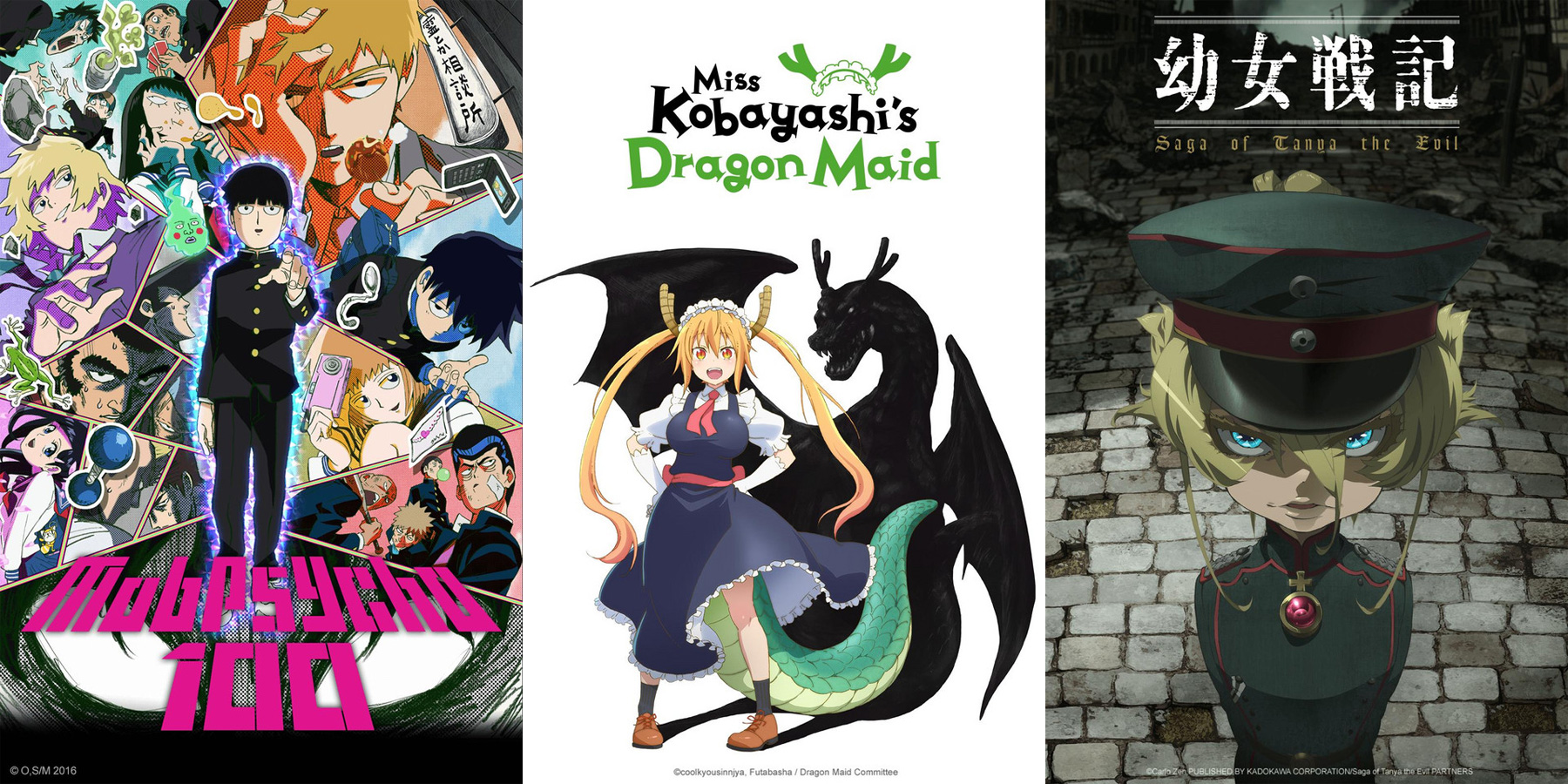 Mob Psycho 100, Miss Kobayashi's Dragon Maid und Saga of Tanya the Evi