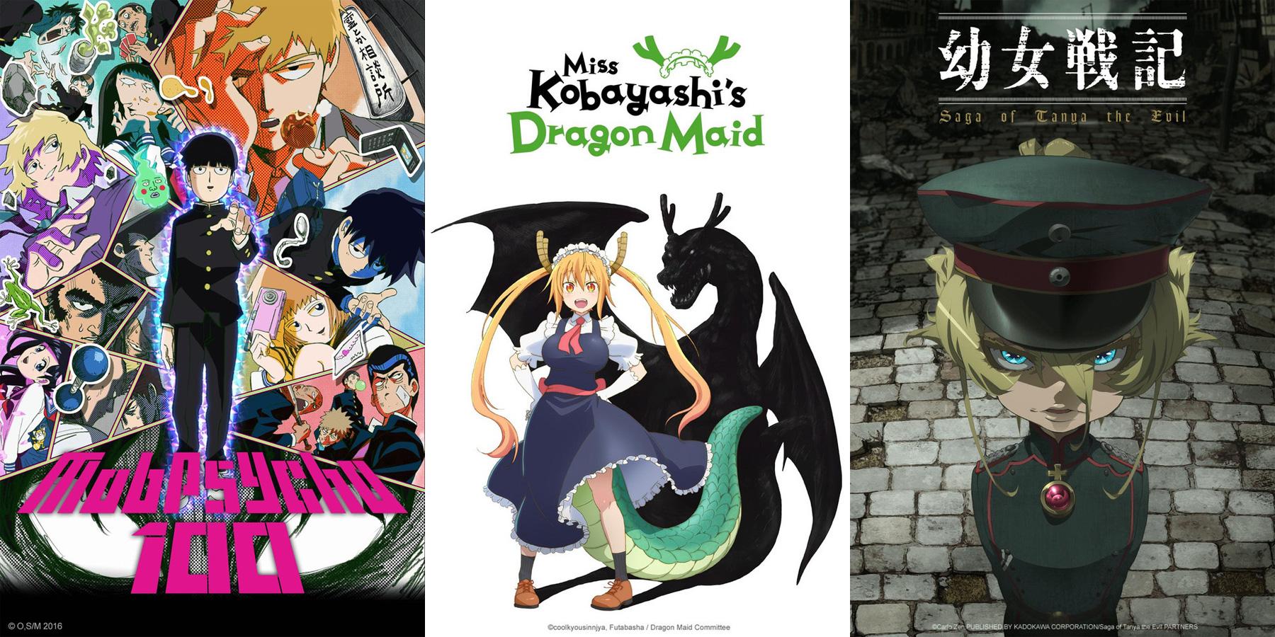Mob Psycho 100, Miss Kobayashi's Dragon Maid und Saga of Tanya the Evi