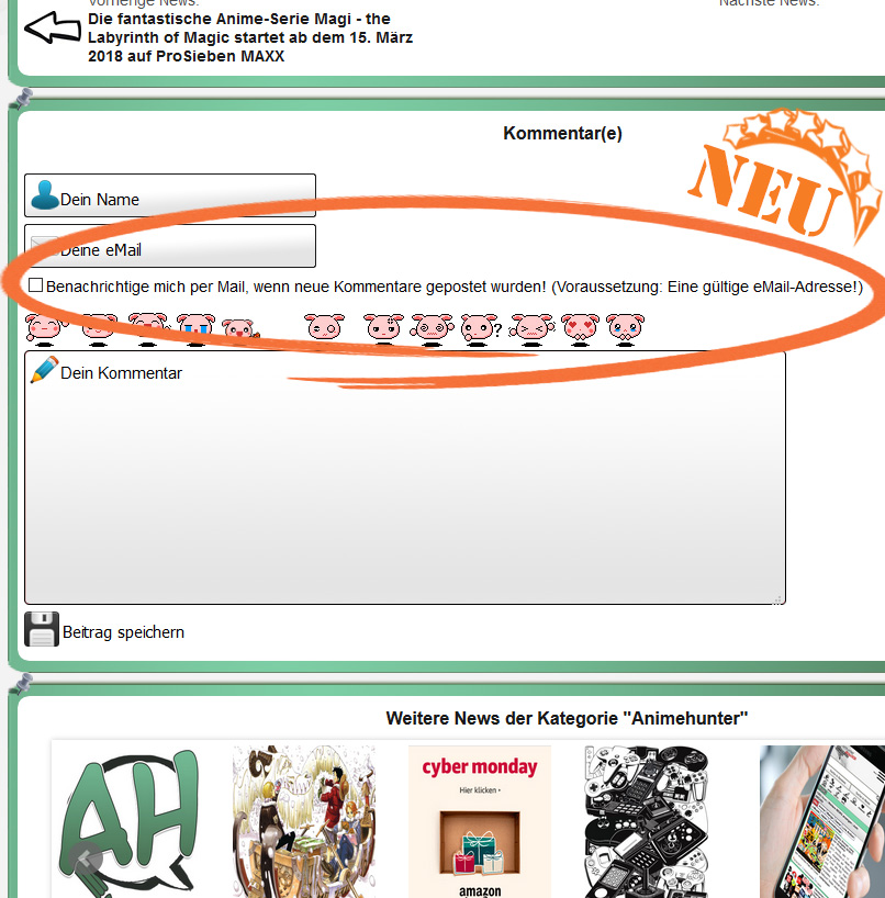 Update in den Animehunter News Kommentaren - Automatische eMail Benach