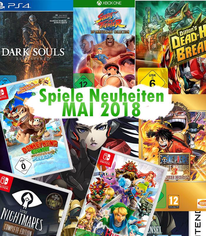Spiele Neuheiten für Mai 2018 u.a. von Nintendo, Koch Media, Bandai N
