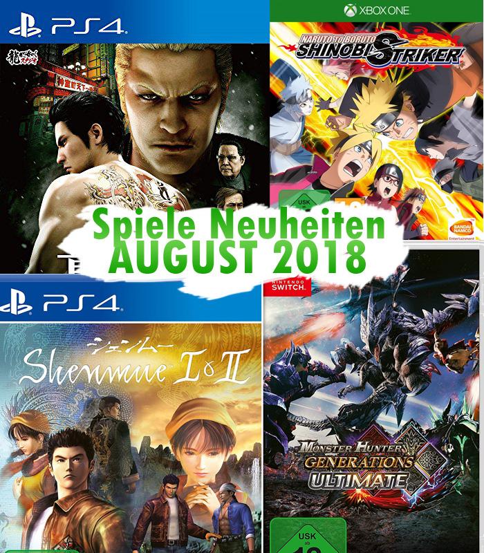 Spiele Neuheiten für August 2018 u.a. von Capcom, Nis America oder Ba