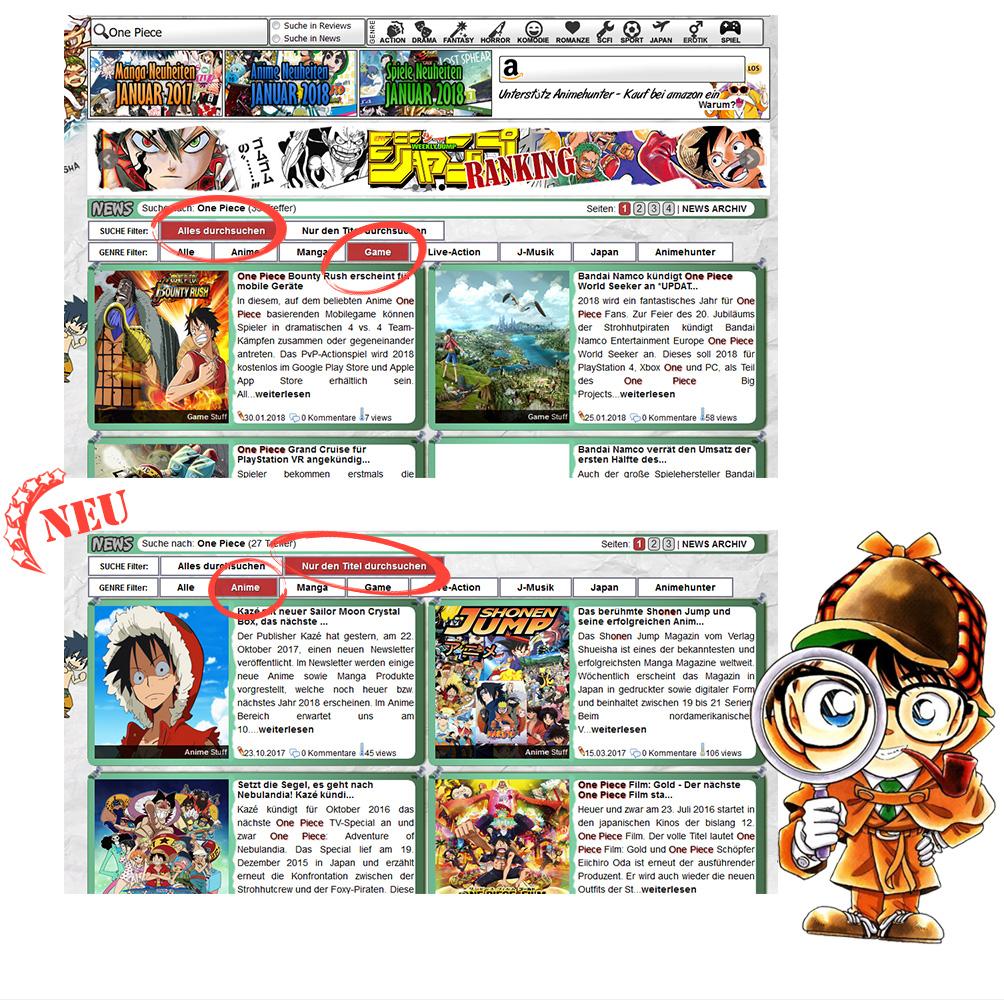 Neuer Suche Filter im Animehunter Newssystem *UPDATE*