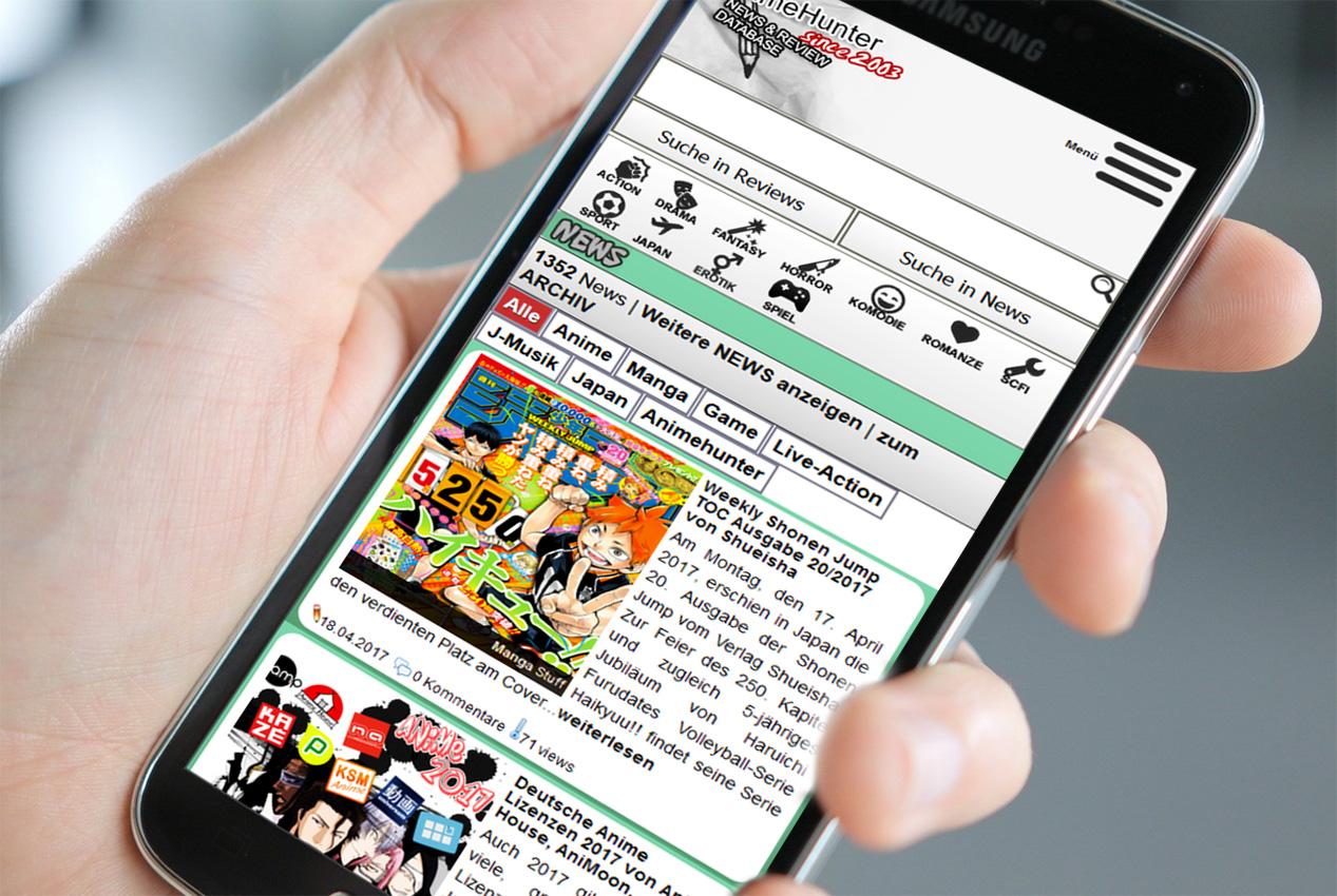 Design-Update auf Animehunter: Mobile Darstellung Version 1.0 ist onli