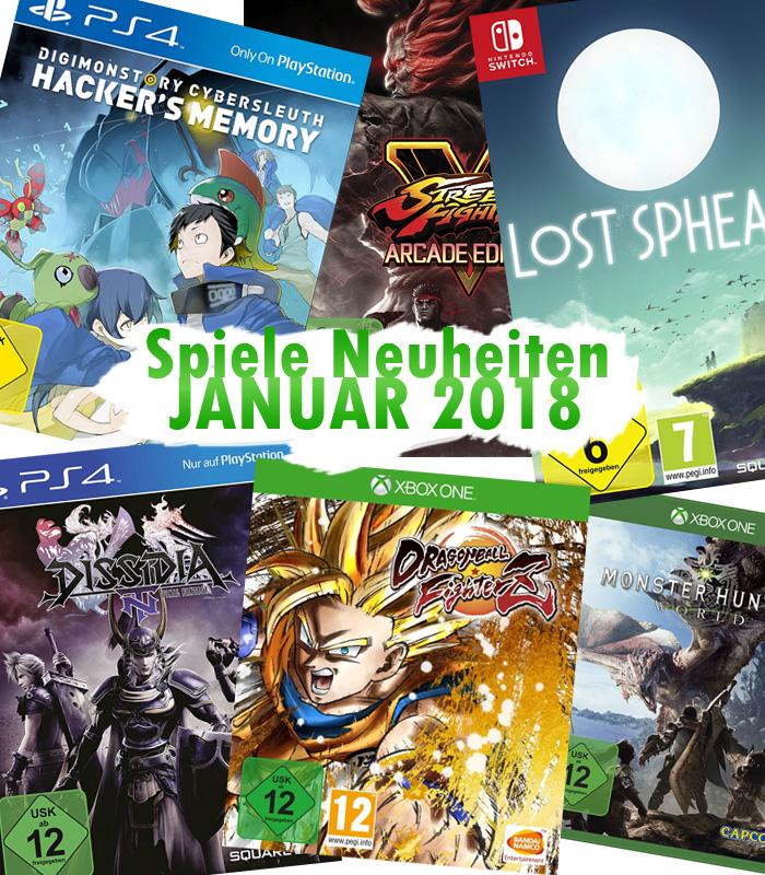 Spiele Neuheiten für Januar 2018 u.a. von Bandai Namco Entertainment,