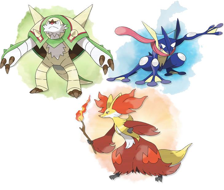 Finale Entwicklung der Starter Pokémon aus  Pokémon X und Pokémon Y