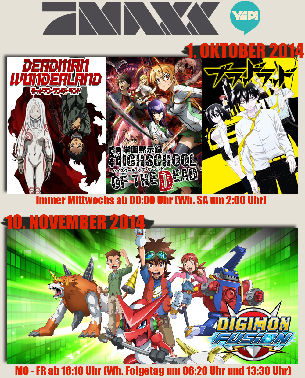 Deadman Wonderland, Highschool of the Dead, Blood Lad und Digimon Fusi