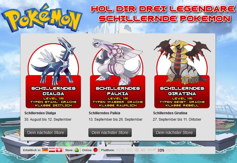 Pokémon Verteilung von Shiny Dialga, Palkia und Giratina für die Edi