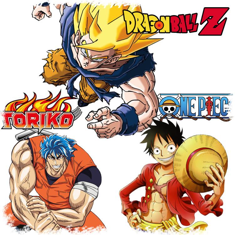 Die bekanntesten Shonen-Serien Toriko, One Piece und Dragonball Z vere