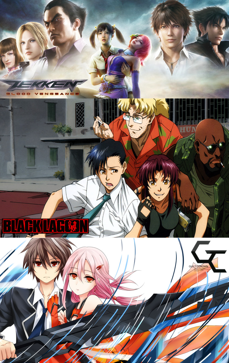 Tekken: Blood Vengeance,  Black Lagoon und Guilty Crown im Juni 2013 a