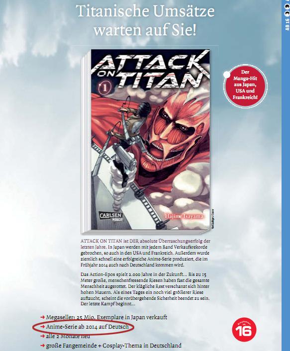 Nach der deutschen Lizenzierung des Manga von Carlsen Manga! folgt nun