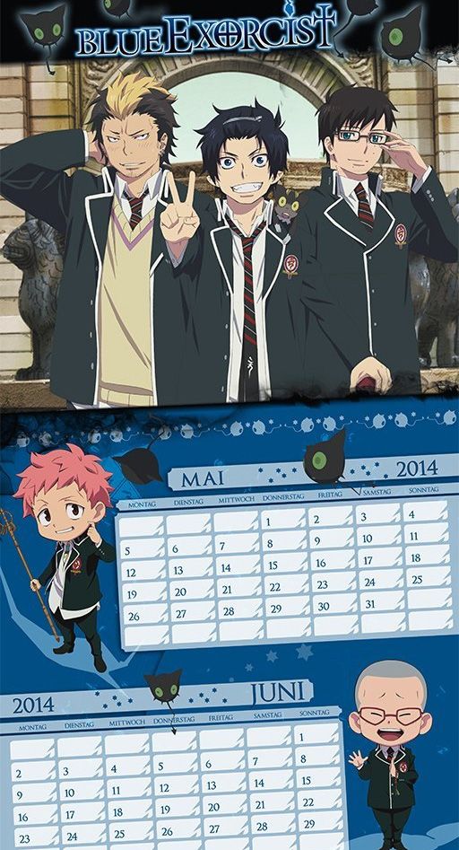 Wandkalender 2014 von Blue Exorcist, Bleach, Death Note, Detektiv Cona