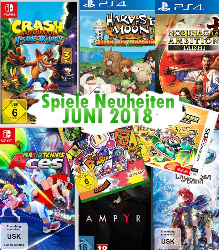 Spiele Neuheiten für Juni 2018 u.a. von Nintendo, Koch Media, Konami,
