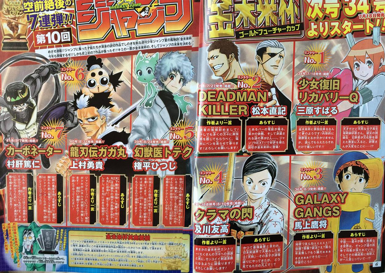Der Golden Future Cup 2015 vom Verlag Shueisha mit 7 One-Shots *Update