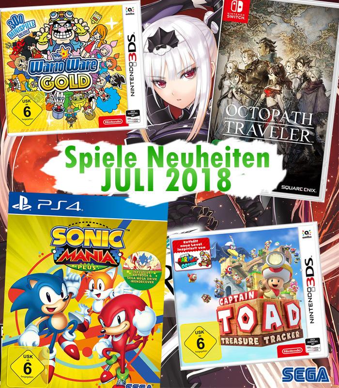 Spiele Neuheiten für Juli 2018 u.a. von Sega, Nintendo oder Capcom